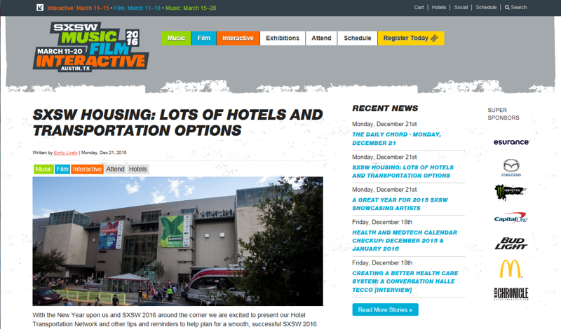"""SXSW.com - December 21st, 2015.<br /> """"SXSW Housing: Lots of Hotels and Transportation Options""""<br /> Photo by Tim Strauss"""