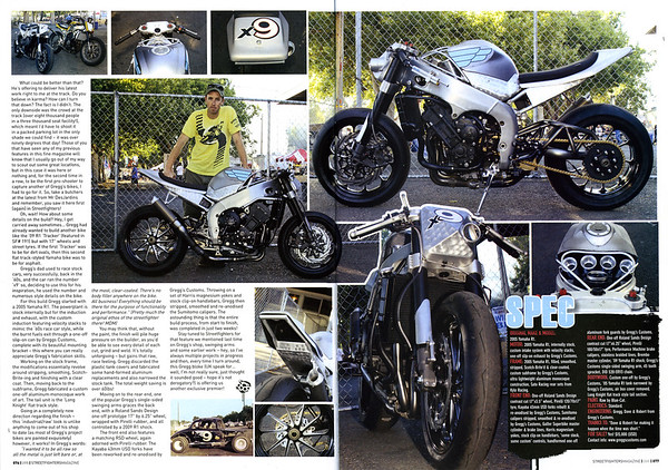 "EXCLUSIVE PREMIER: GREGGS CUSTOMS LATEST R1 TRACKER ""x9"" 4 PAGE FEATURE IN STREETFIGHTERS MAG (UK) ISSUE # 205"