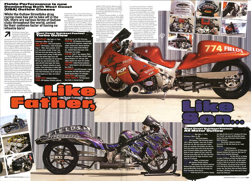 "10/17/09: EXCLUSIVE SNEEK PEEK!! Fields Performance setting MDRA Records featured in Streetfighters Mag (UK) Issue # 189 Will hit USA newsstands in about 2-3 weeks!!  4/6/2010 - EXCLUSIVE: Mike Fields, SR featured on SPEED-TV's ""Pass Time"" show - and ""Photos by HooliganUnderground.com"" decals are featured prominantly on Mike Sr's record setting Turbo 'Busa!!  ""<p><a href=""http://www.youtube.com/watch?v=gZSQKrxzquI""target=""new"">Click here! </a></p>"