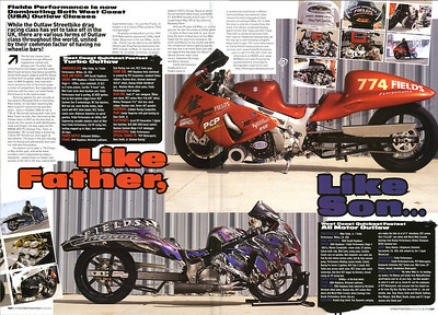 "10/17/09: EXCLUSIVE SNEEK PEEK!! Fields Performance setting MDRA Records featured in Streetfighters Mag (UK) Issue # 189 Will hit USA newsstands in about 2-3 weeks!!  4/6/2010 - EXCLUSIVE: Mike Fields, SR featured on SPEED-TV's ""Pass Time"" show - and ""Photos by HooliganUnderground.com"" decals are featured prominantly on Mike Sr's record setting Turbo 'Busa!!  ""Click here!"
