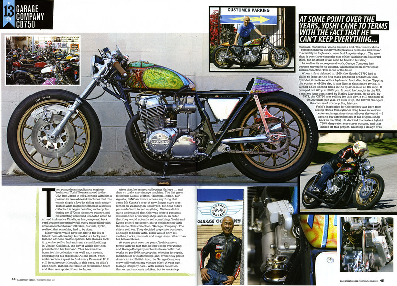 """EXCLUSIVE:  6-PAGE FULL COLOR FEATURE ON THE GARAGE COMPANY's SWEET CB750  """"D'CAFE"""" IN BACK STREET HEROES MAG (UK) """"THE  13th ISSUE.""""<br /> <br /> Photos by Richard Kontas"""