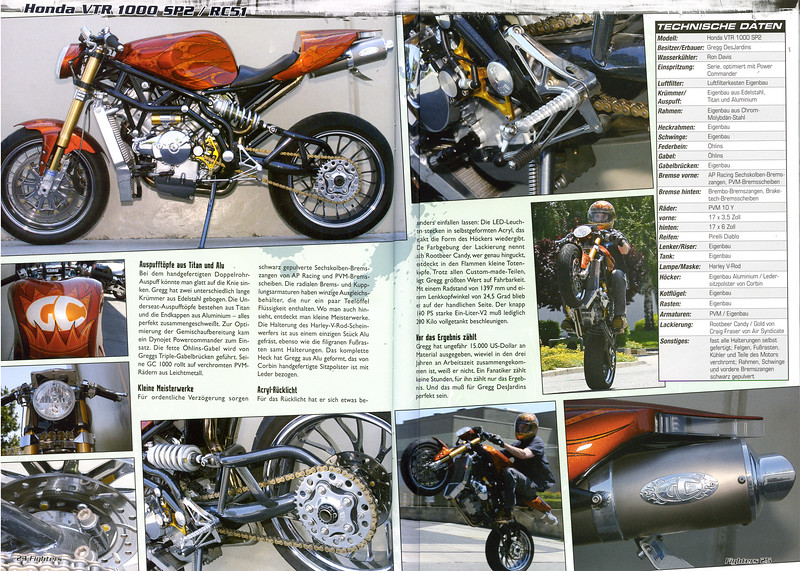"EXCLUSIVE - GREGG DESJARDINS ONE-OFF GC1000 IS A 4-PAGE FEATURE  IN THE NOV. ISSUE OF FIGHTERS MAGAZINE (GERMANY). THIS IS OUR FIRST FEATURE IN THIS FINE PUBLICATION!!  <p><a href=""http://www.fighters-magazin.de/fm/"" target=""new"" rel=""nofollow""> <b>Visit  the FIGHTERS Web Site</b></a></p>"