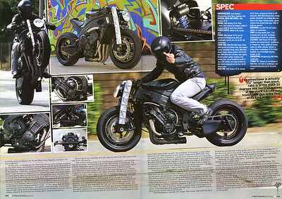 8/4/09: EXCLUSIVE!! JASON RODMAN'S R1E STREETFIGHTER 4-PAGE FEATURE SPREAD IN SEPTEMBER '09 / ISSUE # 187 OF STREETFIGHTERS MAG.(UK) Pages 3 and 4 - Now finally a domestic 'fighter that looks more like its euro/uk counterparts!!