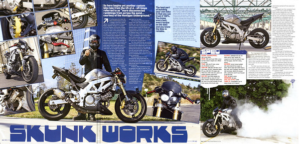 EXCLUSIVE: STEPHAN VARGAS' SKUNK WORKS  CUSTOM 3 PAGE FEATURE IN STREETFIGHTERS MAGAZINE (UK) ISSUE # 199