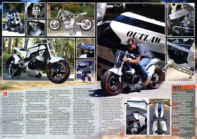 """EXCLUSIVE:  4-PAGE FULL COLOR FEATURE ON JAY ABINGTON'S  ONE-OF-A-KIND """"JAYBUILT OUTLAW"""" IN STREETFIGHTERS MAG (UK) ISSUE # 215 (JAN. 2012)."""