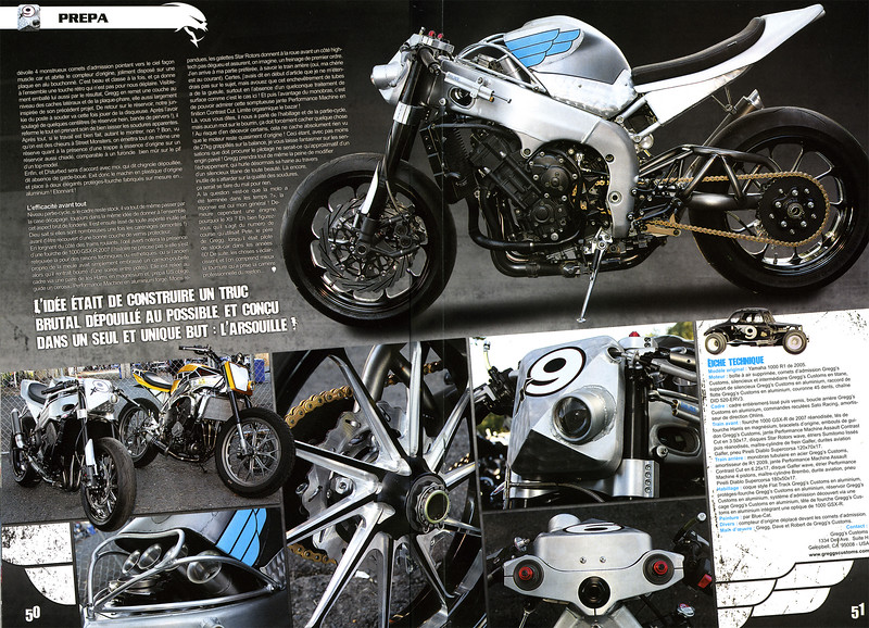 """PREMIER: GREGGS CUSTOMS """"x9"""" R1 TRACKER 4 PAGE FEATURE COVERAGE IN STREET MONSTERS (France) ISSUE #21"""
