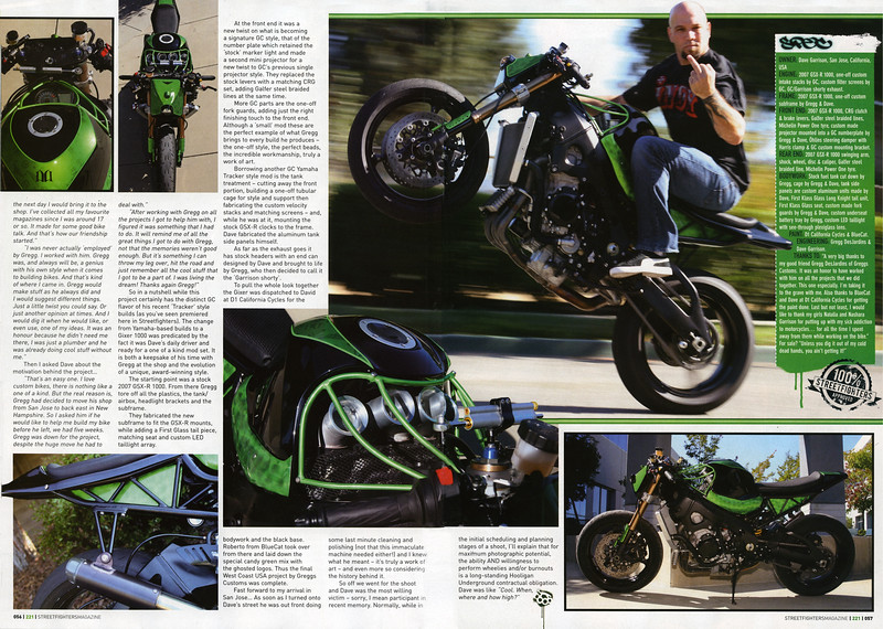 """Yet another Exclusive World Premier: Dave Garrisons Ultra-sweet GC/GSXR 1000 Featured in Streetfighters (UK) Magazine.<br /> <br /> Pages 3-4 of this exclusive spread - once again HooliganUnderground.com beats all the other mags to the printing press!<br /> <br /> <br /> STREETFIGHTERS MAG (UK) is the Worlds Premier Ultimate  Extreme M/C Publication """"A Maverick Cult on the Fringes of Respectable Motorcycling""""  <br /> <br /> Click on any image to enlarge!!"""