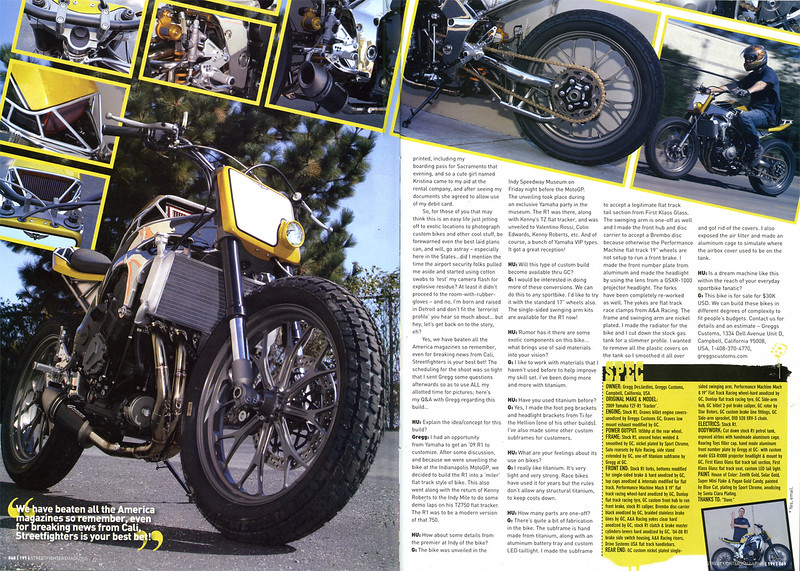 EXCLUSIVE - WORLD PREMIER!! GREGGS CUSTOMS YAMAHA R1 'STREET TRACKER' IN STREETFIGHTERS (UK)  # 191. Yes that's right: 7 page's of exclusive Hooligan Underground words & pics in one issue!!