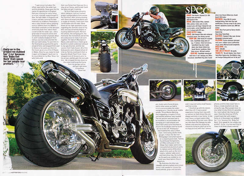 9/1/09: EXCLUSIVE!! TOM HENDRIX'S V-MAX  4-PAGE FEATURE SPREAD IN OCT. '09 / ISSUE # 188 OF STREETFIGHTERS MAG.(UK) Here's pages 3 and 4 - Shot up near San Francisco...look for it in about 3 weeks at USA newsagents.<br /> <br /> Click on any image to enlarge...now set up for XXL viewing - enjoy!!