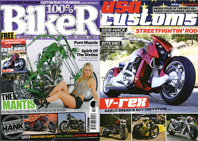 EXCLUSIVE - V-REX FEATURED IN 100% BIKER MAGAZINE (UK) ISSUE # 132  I'LL GO AS FAR AS CALL THIS MY FIRST  DOUBLE-COVER SHOT; FULL PAGE COVER ON THE 16 PAGE PULL OUT SUPPLEMENT ALSO FEATURED AS AN INSERT PIC ON OUTSIDE COVER!!  This is a treat for me as the current Editor-in-Chief of 100% Biker is one Mr. Nik Samson who was the editor of Streetfighters Mag. back in 1996 when my first ever published feature hit the newsstands!! Yes he was the one to give me 'my first big break' and as they say...the rest is Extreme Motorsports Photographic history!!   Visit the100% BIKER SITE