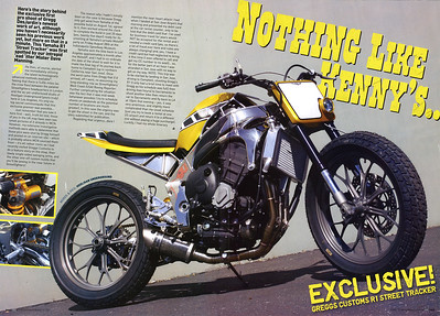 EXCLUSIVE - WORLD PREMIER!! GREGGS CUSTOMS YAMAHA R1 'STREET TRACKER' IN STREETFIGHTERS (UK)  # 191. We've beaten ALL the USA mags to the press with this Hooligan Underground exclusive 4-page feature spread first  look at Gregg DesJardins beautiful R1 Custom!!  Photos by Richard Kontas