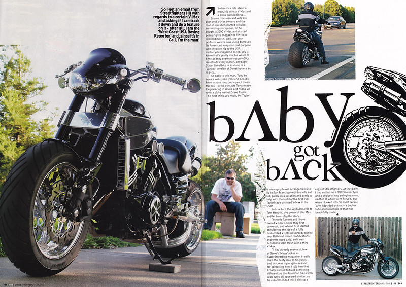 9/1/09: EXCLUSIVE!! TOM HENDRIX'S V-MAX  4-PAGE FEATURE SPREAD IN OCT. '09 / ISSUE # 188 OF STREETFIGHTERS MAG.(UK) Here's pages 1 and 2 - Shot up near San Francisco...look for it in about 3 weeks at USA newsagents.