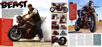 """Exclusive World Premier: Mad Pitbull Designs Custom """"Bio-Tech Beast"""" GSXR 1000 Featured in Streetfighters Magazine Issue # 217.  Shot at the Lake Havasu XDL event before the powers that be shut down the shoot due to over the top hooliganism!!  STREETFIGHTERS MAG (UK) is the Worlds Premier Ultimate  Extreme M/C Publication """"A Maverick Cult on the Fringes of Respectable Motorcycling""""   Click on any image to enlarge!!"""