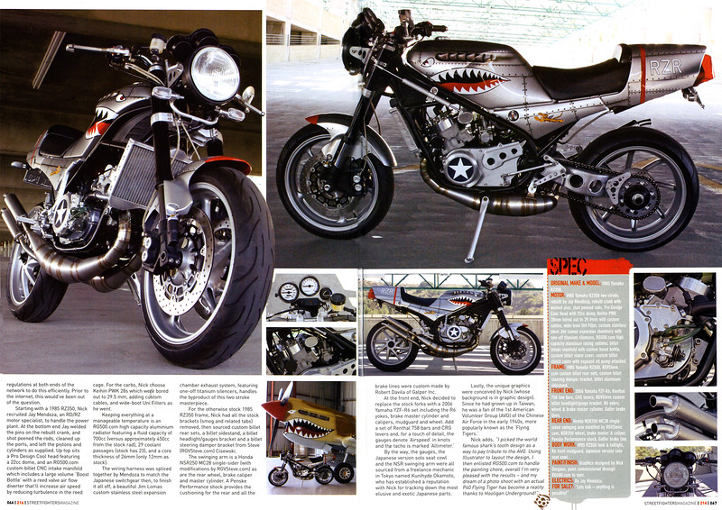 """Exclusive: Nick Gargano's RZR350 P40 """"Flying Tiger"""" featured in Streetfighters (UK) magazine."""