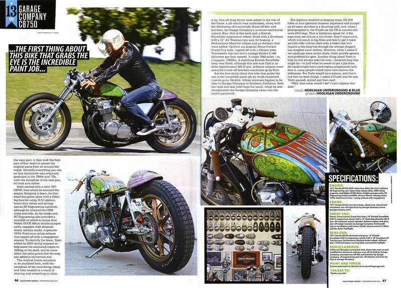 """EXCLUSIVE:  6-PAGE FULL COLOR FEATURE ON THE GARAGE COMPANY's SWEET CB750  """"D'CAFE"""" IN BACK STREET HEROES MAG (UK) """"THE  13th ISSUE"""" (JAN. 2012)."""