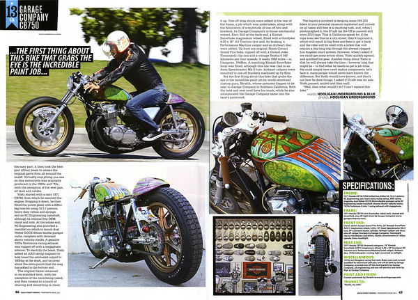 "EXCLUSIVE:  6-PAGE FULL COLOR FEATURE ON THE GARAGE COMPANY's SWEET CB750  ""D'CAFE"" IN BACK STREET HEROES MAG (UK) ""THE  13th ISSUE"" (JAN. 2012)."