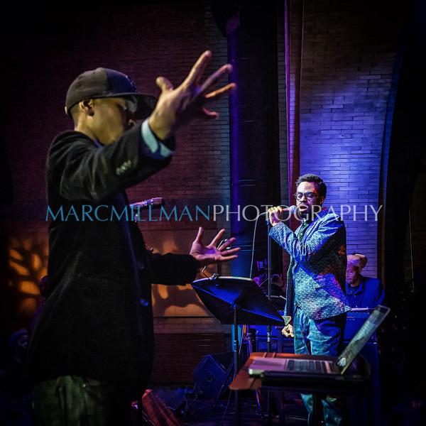Igmar Thomas conducts Bilal & The Revive Big Band featuring Marc Cary<br /> <br /> Bilal & The Revive Big Band @ Harlem Stage (Fri 2/21/14)