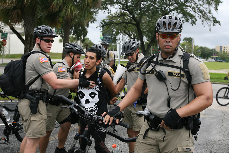 Dominic del Rosa, 19, was arrested after failing to comply with an event ordinance which prohibits the wearing of masks outside the Republican National Convention in Tampa, Florida on August 27th, 2012.