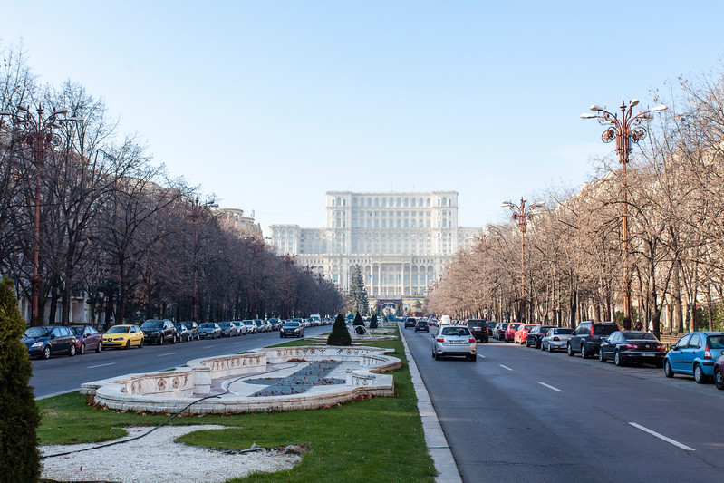 BUCHAREST. THE FACADE OF THE PALACE OF PARLIAMENT.