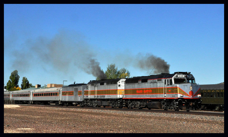 The Grand Canyon Railroad Train Pulling out of Williams