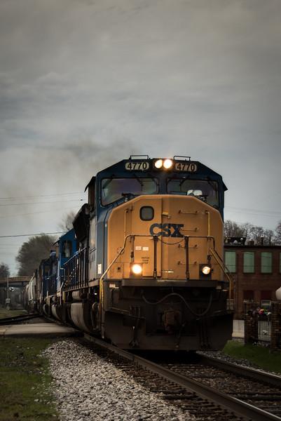 CSX, crossing under historic Vandalia bridge, Vandalia, Illinois