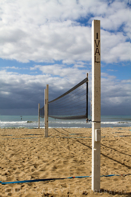 Beach volleyball nets at San Onofre State Beach in San Clemente, California