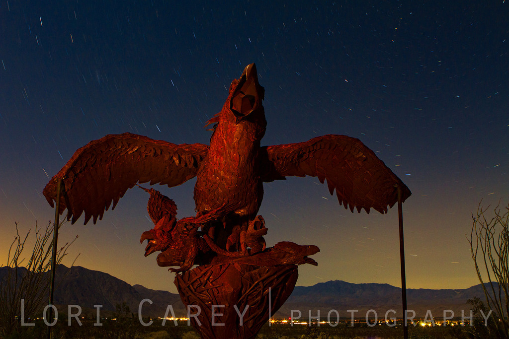 Giant Eagle sculpture by Ricardo Braceda for the Galleta Meadows Sky Art installation. Galleta Meadows owner Dennis Avery commissioned Braceda to create many large metal sculptures for display on the open desert property he owns in Borrego Springs, California near Anza-Borrego Desert State Park. The original sculptures represented animals that roamed these lands many years ago, later sculptures reflect the history of the area, and the most recent are whimsical.