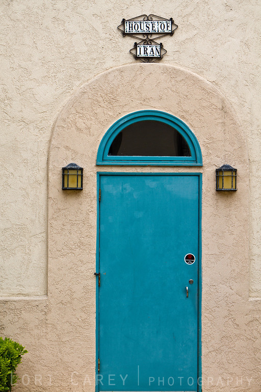 Blue door at House of Iran, one of the International Cottages at Balboa Park in San Diego, California