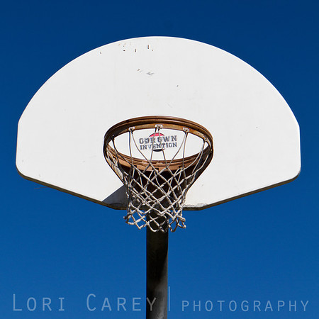 """Basketball hoop with sticker from band """"Our Own Invention"""""""