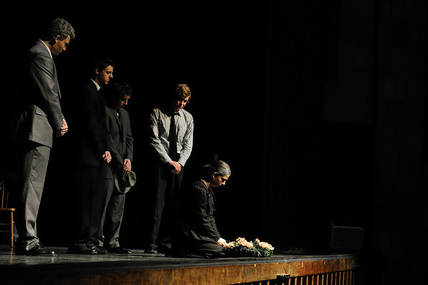 Rachel and cast in the final heart-breaking scene in the play 'Death of a Salesman'.