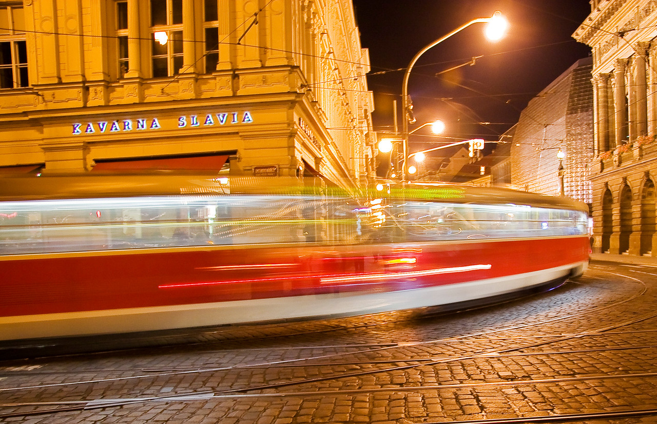 Coming around the corner-a  slow ride in Prague. Feels like a dream like image .