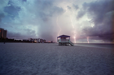 3 strikes and you are out!  Lightning storm over Miami Beach's famous South Beach