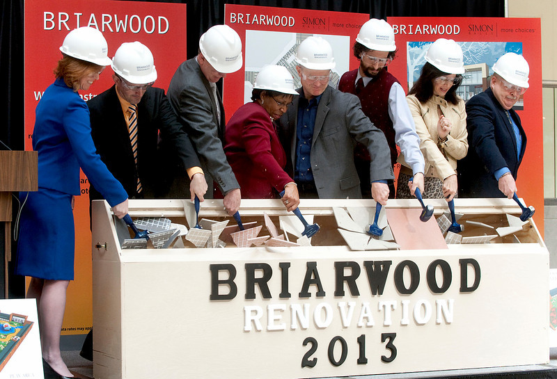 From left, Denise Murray, (Director of Marketing and Business Development for Briarwood Mall) Andrew Cottrell, (VP of Design for Nudell Architects) David Johnson, (Senior Regional VP at Simon Property Group) Ida Hendrix, (Briarwood Mall Manager) John Hieftje, (Mayor of Ann Arbor) Yousef Rabhi, (Washtenaw County Commissioner) Diane Keller, (President and CEO of Ann Arbor Ypsi Chamber) and Briarwood Mall Operations Director Mike Ewald participate in a ceremonial tile breaking after announcing plans for a major renovation of Briarwood Mall in Ann Arbor on March 5, 2013.  (Mark Bialek / Special to the Det News)