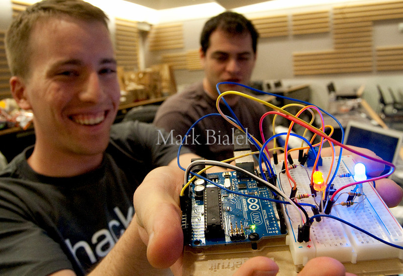 University of Michigan student Andrew Copp shows an LED board used in his team's chat app during a 22-hour 'Hackathon' on the University of Michigan's North Campus on Jan 19, 2013.  The event sponsor, Silicon Valley startup imo.im, is looking for talent for its growing online business.  http://blog.imo.im/2013/01/imo-spends-weekend-in-michigan-for.html