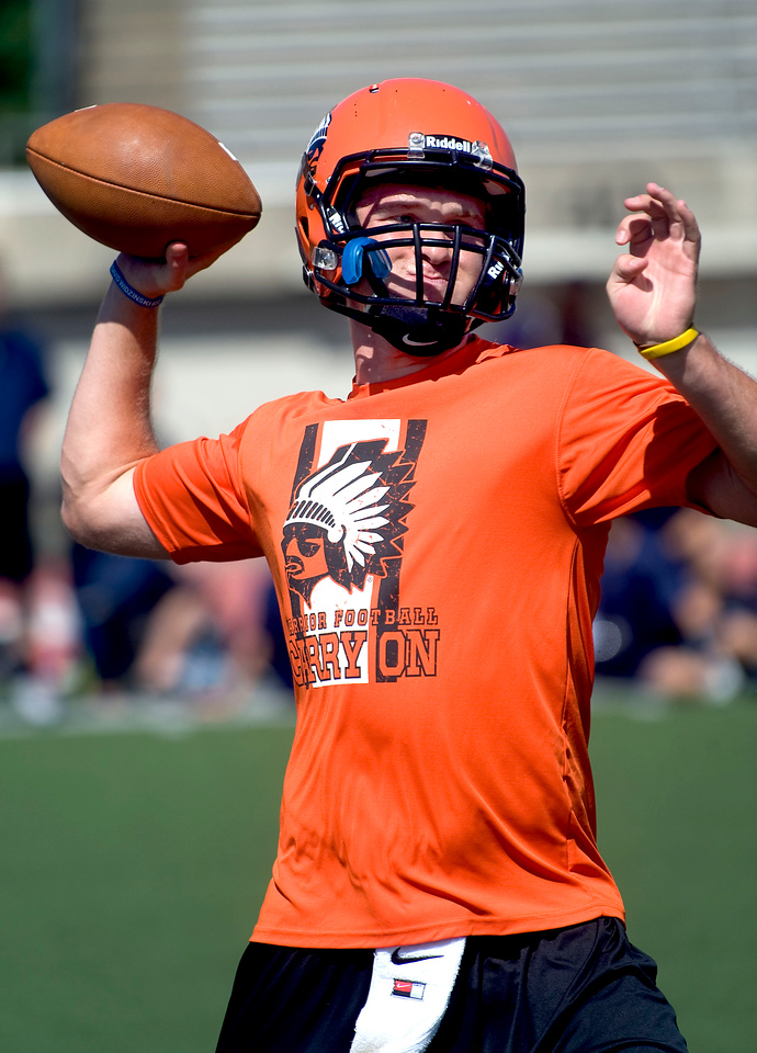 CAPTION INFORMATION Brother Rice quarterback Alex Malzone throws a pass in a 7 on 7 tournament at Eastern Michigan University's Rynearson Stadium on June 21, 2014.  Malone has committed to the University of Michigan for 2015.  (Mark Bialek / Special to the Det News)