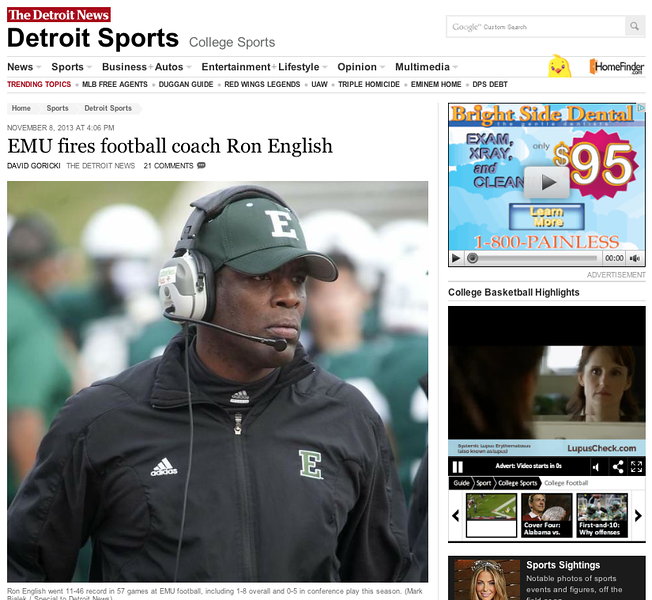 Detroit News:  Eastern Michigan University head coach Ron English fired.