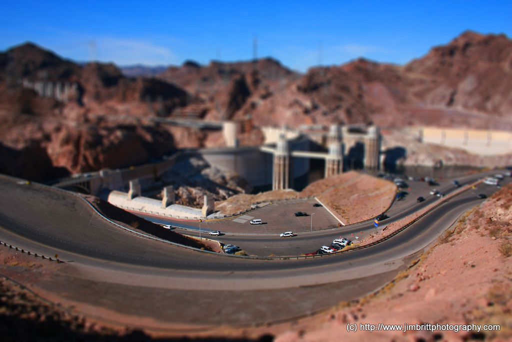 Tilt / Shift Photo of Hoover Dam.