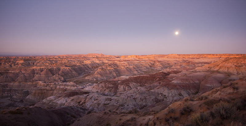 """Moonrise over the Badlands"""