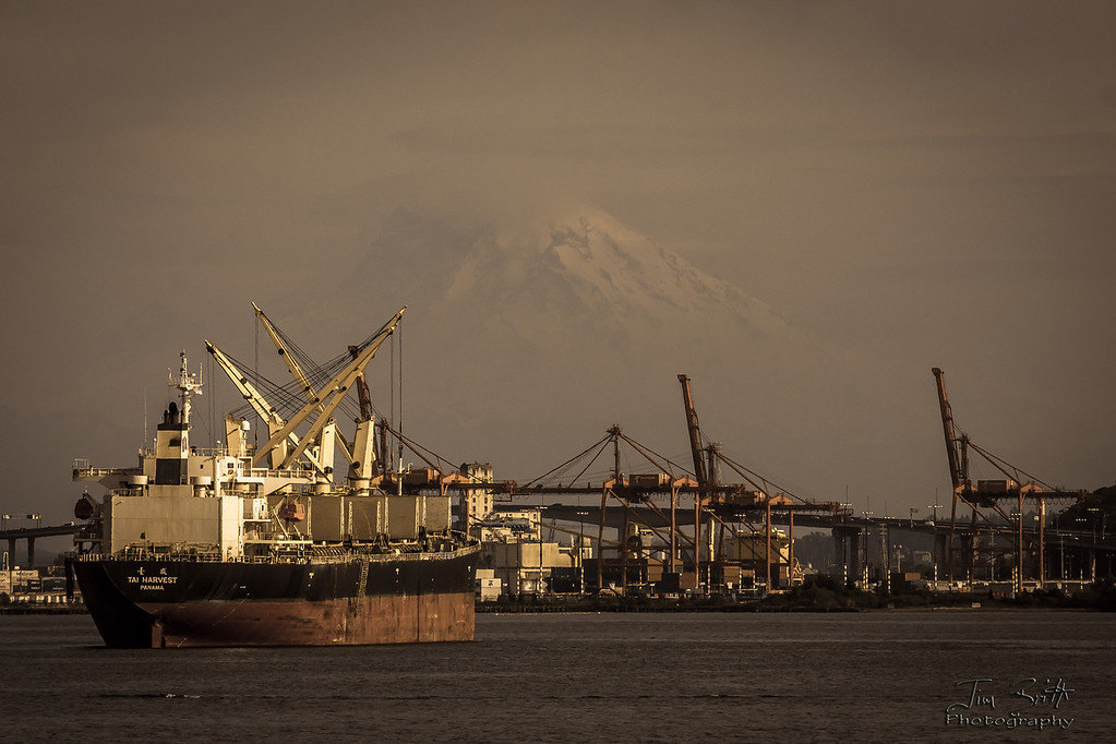 Mt. Rainier as a backdrop for this ship.  Taken in Seattle, WA.