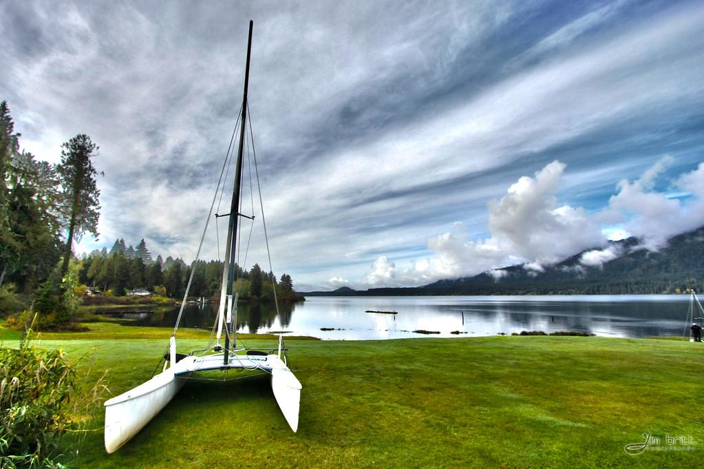 Lake Quinault, Washington.  Sailboat shot.