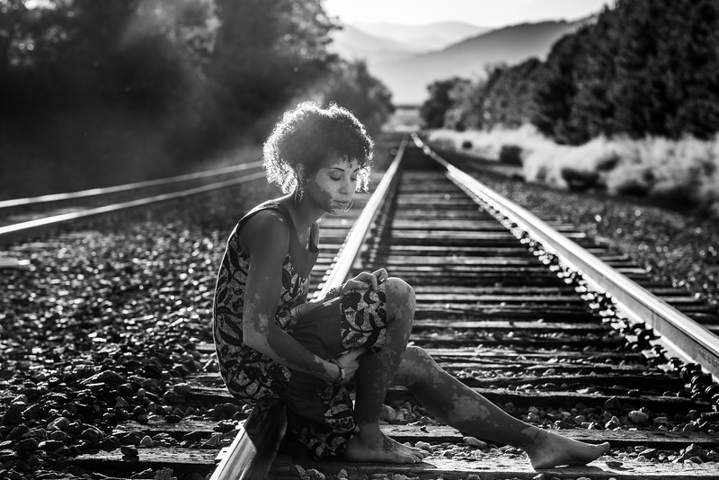 B&W sunset on the tracks with Jasmine