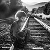 B&W sunset on the tracks with Jasmine