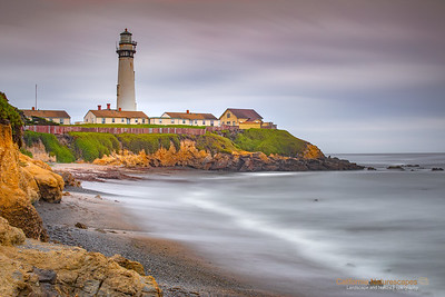 Pigeon Point Lighthouse On Cloudy Evening