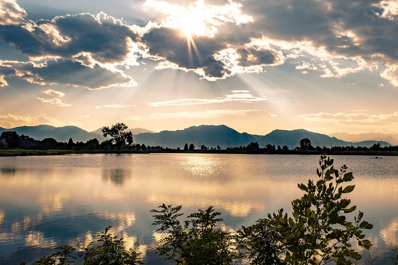 Sunset reflection over Harper Lake