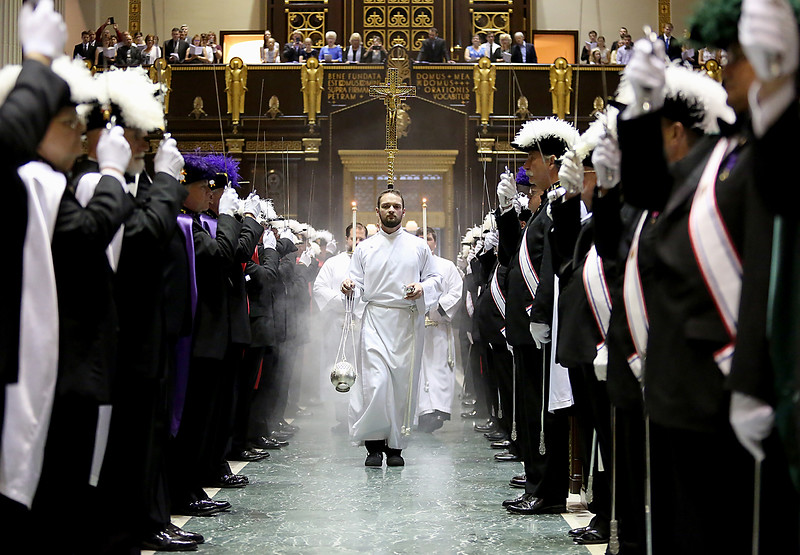 The Knights of Columbus line the aisle for the Processional during the Ordination of Priests at the Cathedral of Saint Peter in Chains in Cincinnati Saturday, May 20, 2017. (CT Photo/E.L. Hubbard)