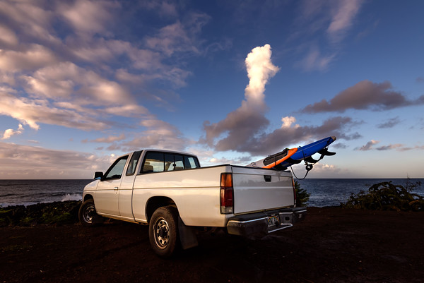 Granddad's old Nissan pickup went surfing!