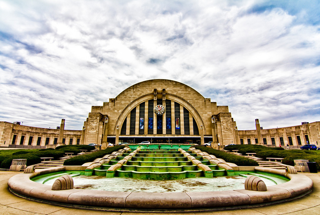Took this today - it is the outside of Union Terminal Station in Cincinnati. It is quite a photogenic place. I have not got to process any from the inside yet. Working on processing others and need to take a break :). Though inside - you might get yelled at for taking pictures like I did. I asked if they had rules on photography they said yes, I asked to see them and they could not produce them. They said as long as I take pictures of the structure inside or out without people in them I was allowed to shoot - I stood there and scratched my head....<br /> <br /> And have you ever had a photo that by the graph says it is straight, yet you look at it and say - there is no way this is straight? This is that photo for me - I cant get it to where I am happy with it to save myself.