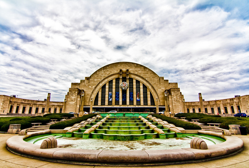 Took this today - it is the outside of Union Terminal Station in Cincinnati. It is quite a photogenic place. I have not got to process any from the inside yet. Working on processing others and need to take a break :). Though inside - you might get yelled at for taking pictures like I did. I asked if they had rules on photography they said yes, I asked to see them and they could not produce them. They said as long as I take pictures of the structure inside or out without people in them I was allowed to shoot - I stood there and scratched my head....And have you ever had a photo that by the graph says it is straight, yet you look at it and say - there is no way this is straight? This is that photo for me - I cant get it to where I am happy with it to save myself.