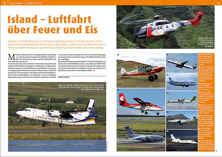 Cockpit - Island Luftfahrt über Feuer und Eis Mar 2011