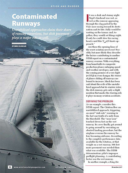 Aviation Safety Magazine - Contaminated Runways Nov 2007